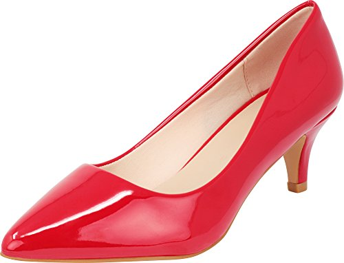 (Cambridge Select Women's Classic Closed Pointed Toe Slip-On Low Kitten Heel Pump,10 B(M) US,Red Patent Pu)