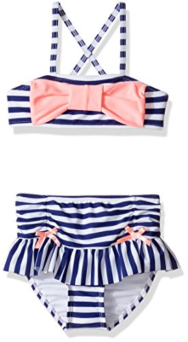 Hulu Star Little Girls' Ships Ahoy Two Piece Bikini Swimsuit, Navy/White, - Girl Suit Bikini Bathing Hula