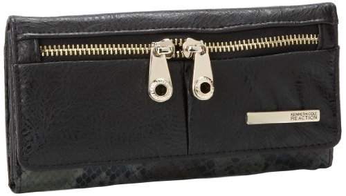 Kenneth Cole Reaction Wooster-Trifold Flap Clutch Wallet,Black,One Size, Bags Central