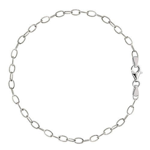 Oval Shaped Twisted Cable Link Anklet In Sterling Silver, 10