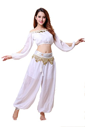 ZLTdream Belly Dance Chiffon Long Sleeves Top and Lantern Coins Pants White