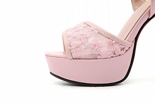 Mee Shoes Damen Plateau open toe Schnalle Sandalen Pink