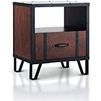 ioHOMES Darwin Industrial End Table, Vintage Walnut