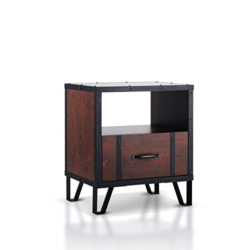 ioHOMES Darwin Industrial End Table, Vintage (Veneer Walnut Strips)