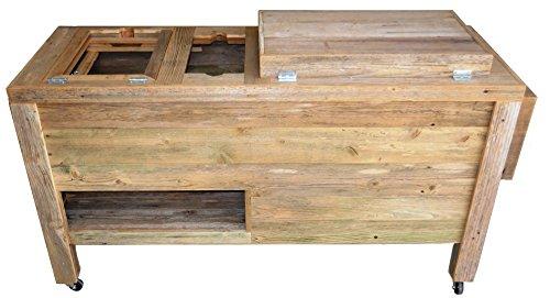 Outdoor Patio Cooler Bar   Wooden Rustic Kitchen Furniture   Grilling Prep  Station On Roller Wheels   Wine Storage, ...