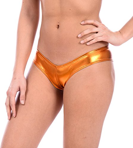 Women's Metallic Sexy Swimsuit Thong by Gary Majdell (Liquid Copper, ()