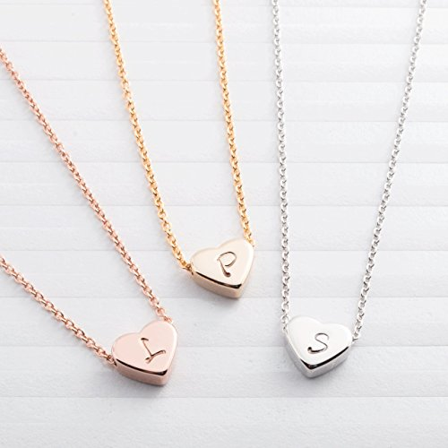 SAME DAY SHIPPING GIFT TIL 2PM CDT A Tiny Heart Initial Necklace - 16K Gold Silver Rose Gold Plated Handstamped Delicate Initial Personalized Heart bridesmaid Wedding Birthday Anniversary Gift (14k Gold Personalized Bangles)