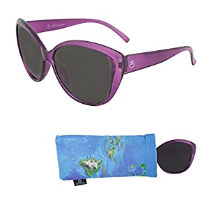 Sunglasses for Teens – Stylish Smoked Lenses for Teenagers - Reduces Glare, 100% UV Protection - Shiny Purple Crystal Frame - Pouch Included - Ages 12 to 18 - By Optix 55