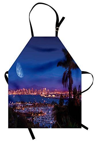 Lunarable USA Apron, San Diego California Night with Large Moon on The Horizon Yachts Panorama, Unisex Kitchen Bib with Adjustable Neck for Cooking Gardening, Adult Size, Navy Blue