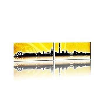 Stuttgart Panorama Skyline Gelb Kunstdruck Auf Leinwand Zweiteilig