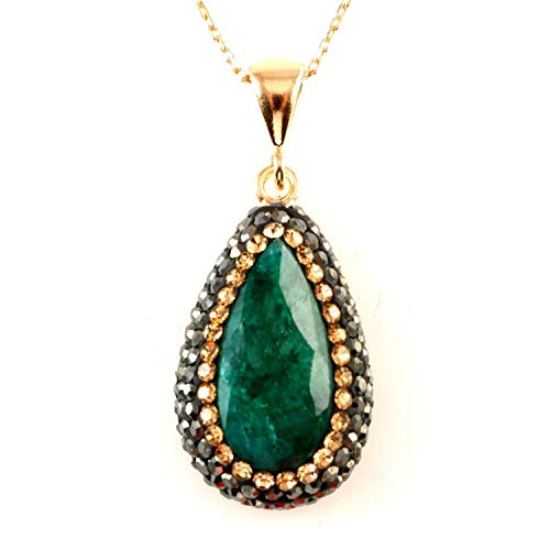 Rose Gold Plated Sterling Silver Teardrop Green Emerald with Crystals Pendant Necklace 16+2 inches -