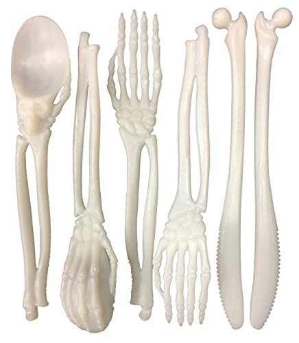 Place Renaissance Fork (Skeleton Plastic Silverware Set Plasticware: Non Disposable Cutlery Forks and Spoons and Knives Heavy Duty Party Utensils Lifetime Guarantee (6 Utensil Place Setting - 18 Total Pieces))