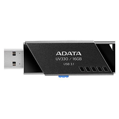 ADATA UV330 USB 3.1 Capless Retractable Flash Drive 16 GB - Black (AUV330-16G-RBK)