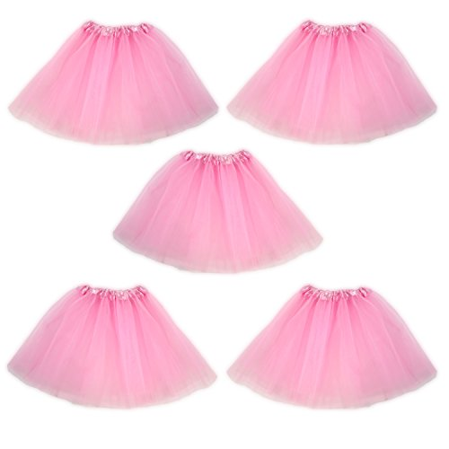 Tutu Ballet Skirt, Bulk 5 Pack, Princess Party Costume Favors (Light Pink)