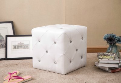 Ottoman Cube Chair White Modern Elegant Stool with Crystal Accents
