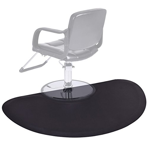 Giantex Black Semi Circle 5'x3' 1/2'' Barber Salon Anti Fatigue Floor Mat Beauty Supplier by Giantex
