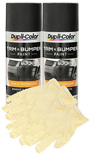 Dupli-Color TB101 Trim and Bumper Paint (11 oz) Bundle With Latex Gloves (6 Items)