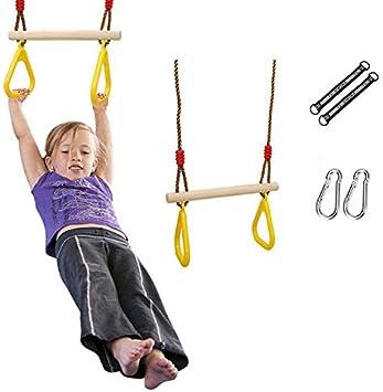 colore: giallo per trazioni Anelli da ginnastica per bambini Pceewtyt con barra trapezoidale