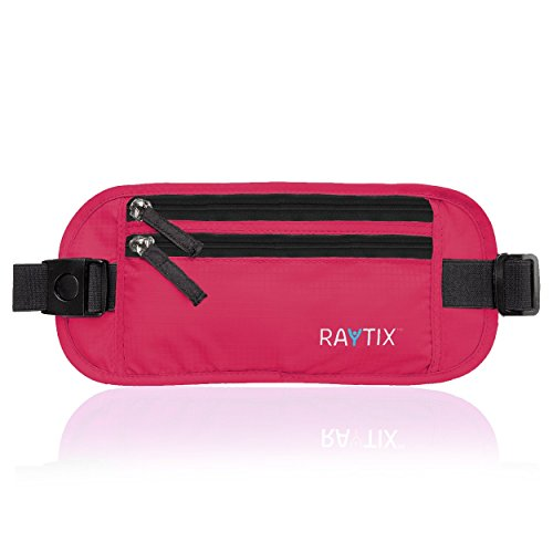 Raytix Travel Money Belt: Safe, Well Designed & Comfortable Money Carrier for Travelling & More - Blocks RFID Transmissions - Secure, Hidden Travel Wallet (Pink)