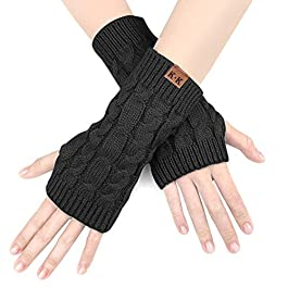 Women Arm Gloves – Wrist Gloves Winter Women's Long Fingerless Gloves Warm Fashion Mitten Knit Crochet, Christmas Gift…