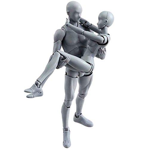 lzndeal Set de Body Chan & Kun Doll mâle femelle DX Tamashii Nations S.H. Modèle d'action mobile en PVC avec Assesoires:Divers gestes de la main,livre,ordinateur,pistolet,katana,téléphone,stylo