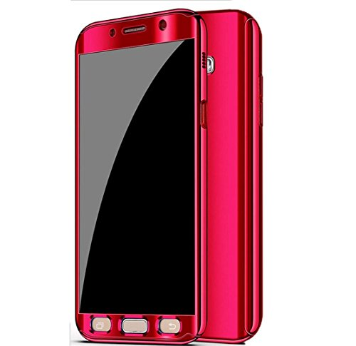 (Galaxy Note 8 Case, Ultra Slim Electroplate 360 Degree Full Body Protection Mirror Case with Tempered Glass Screen Hard PC Protector for Samsung Galaxy Note 8 (Red))