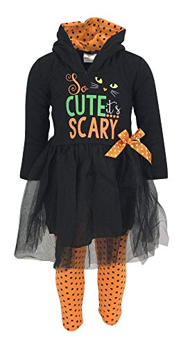 Unique Baby Girls Scary Cute Black Cat Halloween Hoodie Outfit (2T/XS, Black) ()