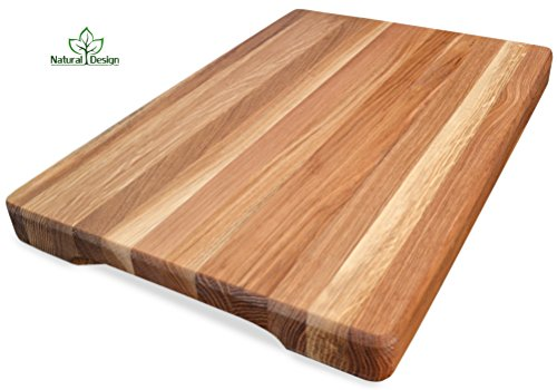 Cutting Board 18 x 12 x 1.6 inches Edge Grain Chopping Block Wood: Maple & Oak Hardwood Extra Thick Appetizer Serving Platter Durable & Resistant