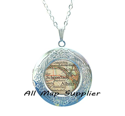 Charming Locket Necklace,Albany, Schenectady Locket Pendant, Albany map Locket Pendant, Schenectady map Locket Pendant, Amsterdam NY, map - Oregon Salem Glasses