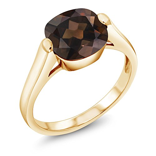 (Gem Stone King 3.07 Ct Checkerboard Brown Smoky Quartz 18K Yellow Gold Plated Silver Ring (Size 6))