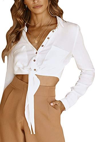 Zilcremo en Top Blouses Dentelle Manches Crop Up Lin Femmes Chemise Longues Blanc Coton rxqwnaAr