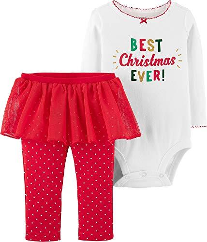 Carter's Baby Girls' 2-Piece Christmas Bodysuit & Tutu Pant Set (Red/Best Christmas, 12 Months) (Piece Pants 2 Months)
