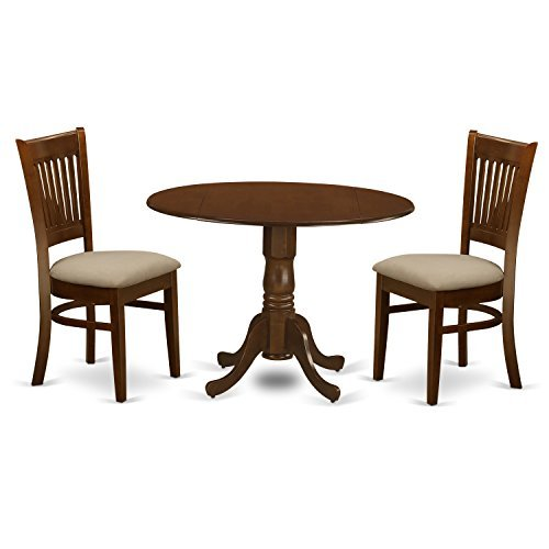 "East West Furniture DLVA3-ESP-C 3 Piece Kenley Dining Table with Two 9"" Drop Leaf and 2 Upholstered Seat Chairs in Espresso"