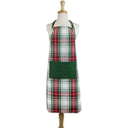 "DII Cotton Chistmas Kitchen Apron with Pocket and Extra Long Ties, 32 x 28"", Men and Women Chef Apron for Holidays, Hostee and Housewarming Gift-Christmas Plaid"