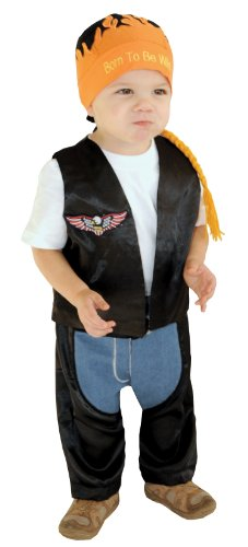 [AM PM Kids! Baby Boy's Biker Dude Costume, Black, One Size] (Biker Kid Costume)