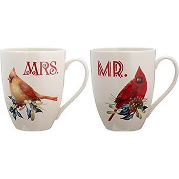 Amazon lenox winter greetings cardinal mug kitchen dining lenox winter greetings home for the holidays mr and mrs mug set ivory m4hsunfo