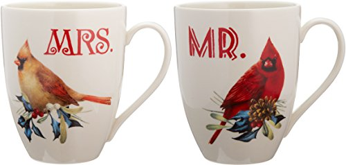 Lenox Winter Greetings Home for The Holidays Mr. and Mrs. Mug Set, Ivory