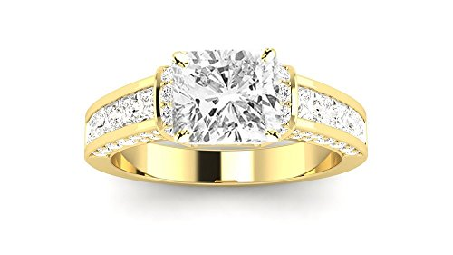 14K Yellow Gold 4.3 CTW Contemporary Channel Set Princess And Pave Round Cut Diamond Engagement Ring w/ 3.4 Ct GIA Certified Cushion Cut D Color VS2 Clarity Center (3.4 Ct Round Diamond)