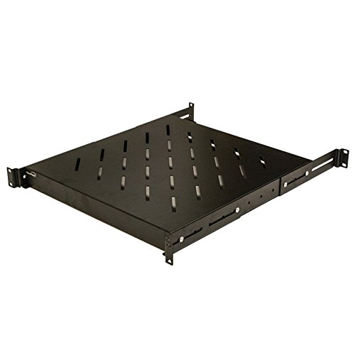 NavePoint 1U 19-Inch Fixed 4-Post Rack Mount Server Shelf with Adjustable Depth from 18-29