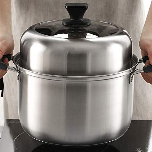 xiaokeai Marmite Acier Inoxydable avec Couche étuvé marmite à Soupe épaissie à Vapeur Ménage Cocotte Poêle au gaz for 4-6 Personnes Faitout
