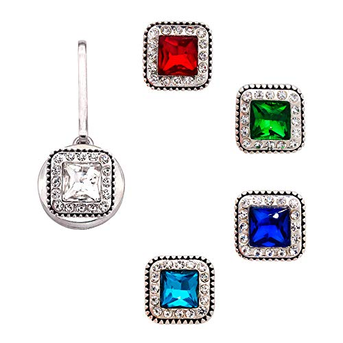 Ascrafter Luxury Square Crystal Snap Buttons, Set of 5, Universal Replacement Button for 12mm & 18mm Charm Holders