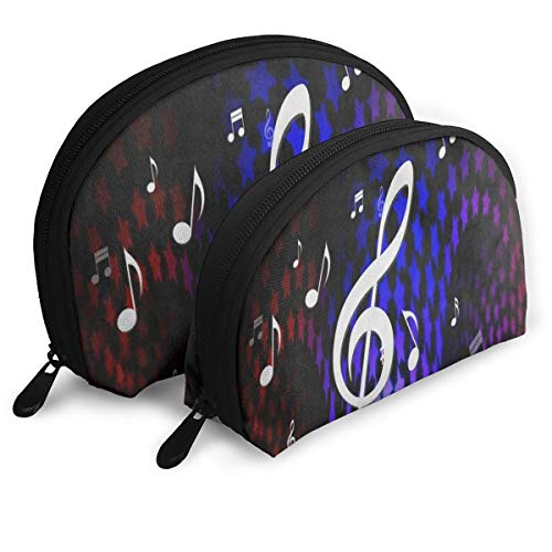 Makeup Bag Colorful Star Dancing Music Note Handy Half Moon Clutch Pouch Bags Storage For Women ()