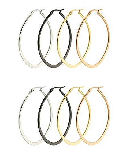 (Aooaz 4 Pairs Women Stainless Steel Hoop Earrings Stud Earrings Ear Clips 50mm Rose Gold Gold Silver Black)