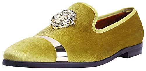 ELANROMAN Mens Loafers Velvet Dress Shoes Handmade Fashion Party Men Dress Loafers Yellow US 10 EUR 44 Feet Lenght 295mm