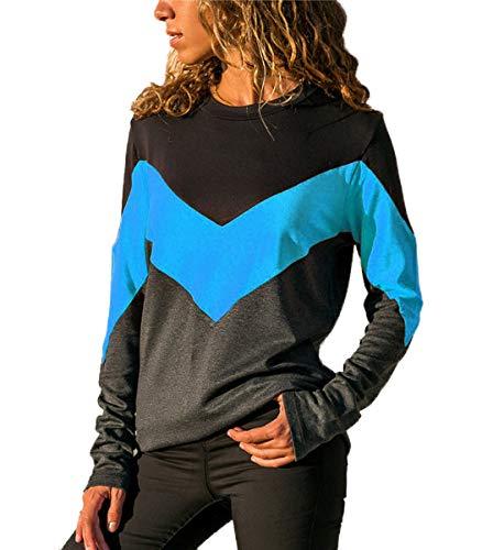 Manches Bleu T ulein Fr Fashion Fox Shirts Hauts Patchwork Casual Col Longues Femmes Tees Shirts Sweat Automne Blouse Pulls et Printemps Tops Rond PBSOqB