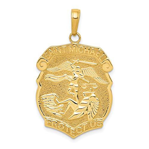 - 14k Yellow Gold Saint Michael Protect Us Words On Police Officer Badge Pendant 32x20mm
