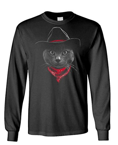 - Cowboy cat - Hipster Adventure Funny Kitten - Long Sleeved Tee, L, Black