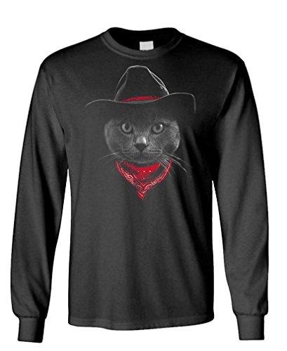 - Cowboy cat - Hipster Adventure Funny Kitten - Long Sleeved Tee, M, Black