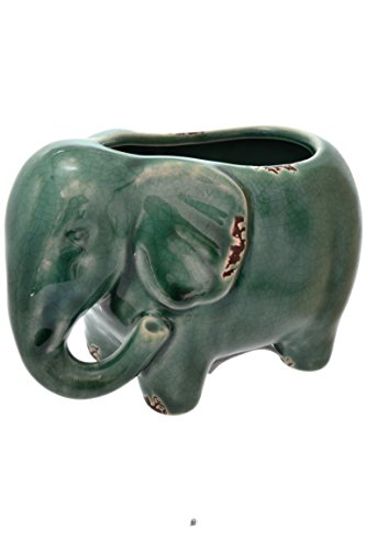 Turquoise Distressed Rustic Crackle Ceramic Elephant Planter Flower Pot -