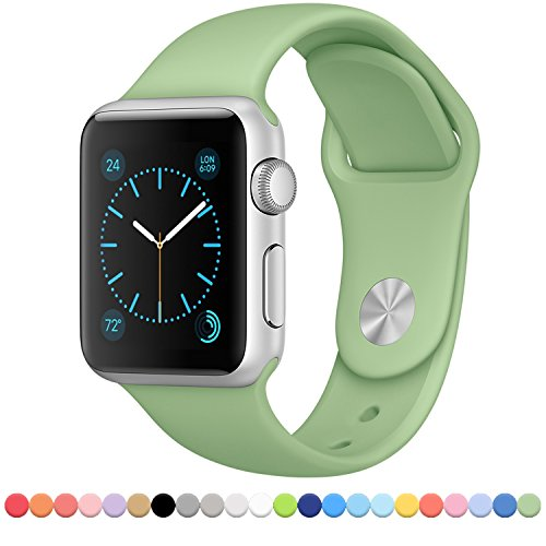 FanTEK Soft Silicone Sport Style Band Replacement iWatch Strap for Apple Wrist Watch 42mm Models M/L Size (Mint)